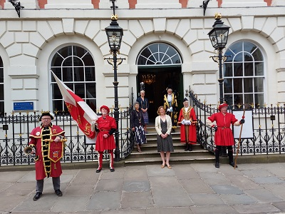 Lord Mayor, Janet Looker, and the rest of the civic party, with Freemen of the city and the town crier