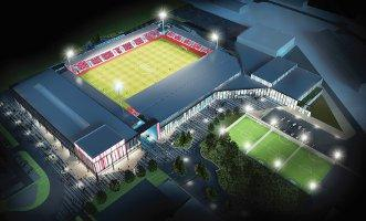 An artist's impression of the York Community Stadium at night.