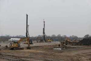 Bulldozers and diggers work on building the York Stadium Leisure Complex.