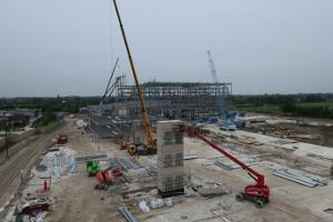 Stadium metal framework shows how work continues at York Community Stadium.