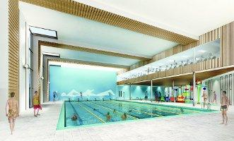 An artist's impression of swimming facilities.