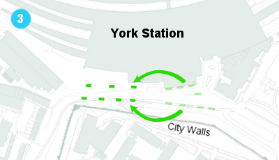 A map showing the proposal for bus stops outside the new York station front.