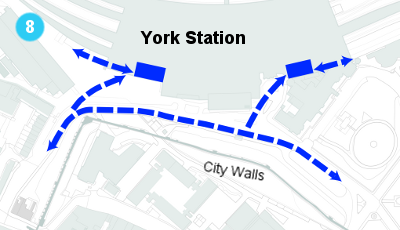 A map showing the proposal for cycle routes and parking outside the new York station front.