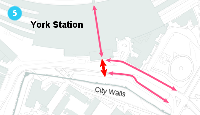 A map showing the proposal for a pedestrian crossing outside the new York station front.